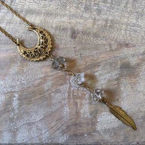 Jewelry - Gold Crescent Moon Natural Stone Feather Necklace
